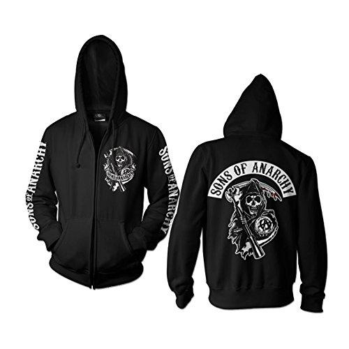 SOA Backpatch Zipped Hoodie (Black), Large