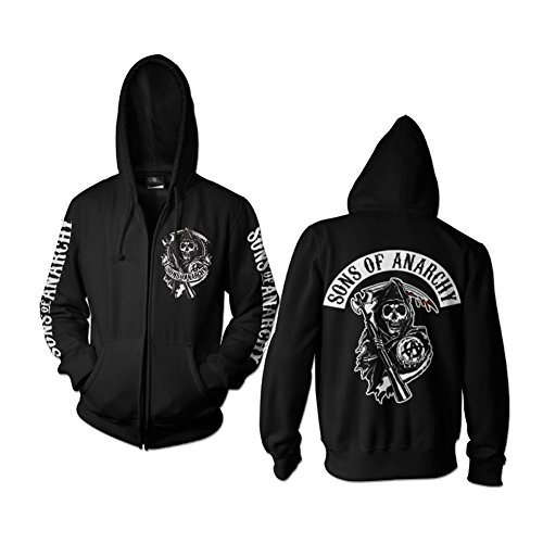 SOA Backpatch Zipped Hoodie (Black), Large