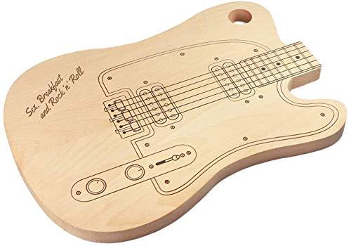 Casa Vivente Schneidebrett E-Gitarre mit Gravur, Sex, Breakfast and Rock'n'Roll, Holzbrett mit Aufhängung, Geschenkidee für Musikfans