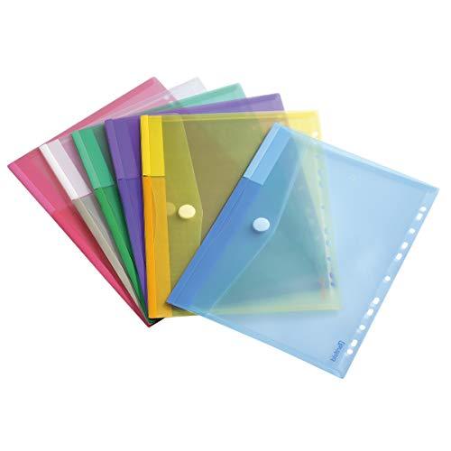 Dokumententasche Sammeltasche Din A4- Tarifold 12 Stk. in 6 Farben Blau, Gelb, Lila, Grün, Transparent, Rosa - 510229