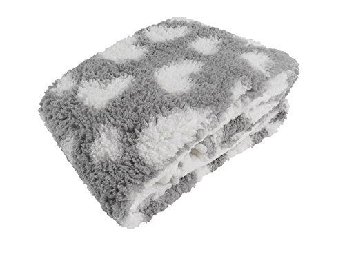 CB Home & Style Kuscheldecke Lammfell-Optik Herzen grau weiß XXL 150 x 200 cm Decke weich