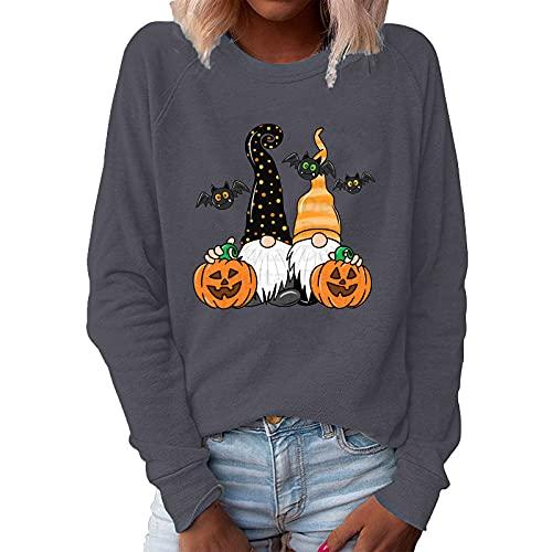 Damen Hallow Gnomes Sweatshirt Halloween Casual Druck Pullover Tops Bluse Herbst und Winter Lange Ärmel Casual Blusen Basic Sweater Oberteile Blusen Casual Sport Shirt