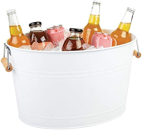 mDesign Metal Beverage Tub Soda Pop Beer Wine Ice Holder Portable Party Drink Chiller 18 Liter product image