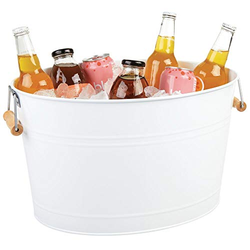 mDesign Flaschenkühler aus Edelstahl – dekorativer Getränkekühler mit Bambusgriffen – ideal als Getränkewanne für Wein, Bier, Sekt oder Softgetränke – weiß