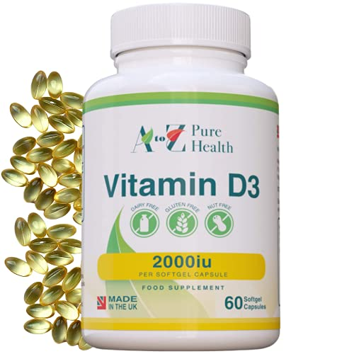 Daily Vitamin D Capsules |High Strength Vitamin D3 2000iu | 60 Premium, Easy to Swallow Softgel Tablets |One a Day, 2-Months Supply |Supports Healthy Bones, Teeth, Muscle and Immune System|UK Made|