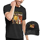Camisetas y Tops Hombre Polos y Camisas, Mens Particular Dream Theater Images and Words T Shirts and Washed Denim Hat Casquette Black Comfortsoft T-Shirt