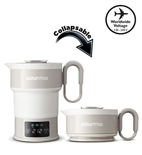 Gourmia GDK368 Digital Electric Collapsible Travel Kettle - Foldable & Portable - Dual Voltage - 3 Function- Boils, Keeps Warm & Self Cleans - Fast Boil - Water Boiler For Coffee, Tea & More - Food Grade Silicone - Boil Dry Protection - 20 oz capacity - Grey