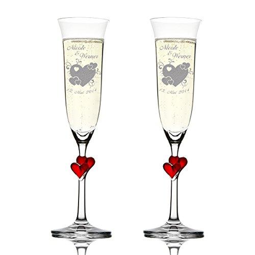 Stölzle Lausitz Amour Ensemble de 2 coupes à champagne avec gravure personnalisée motif – Grand Cœur avec petits coeurs et geschnörkel