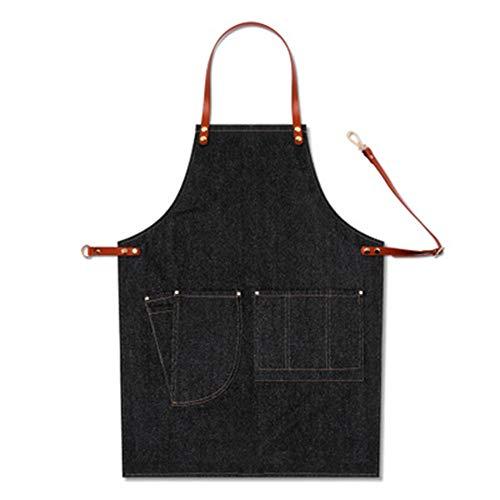 TLYCWC Denim-Schürze für Küche, Koch, Werkzeug, Tasche, Lätzchen, Café, Arbeit, Grillen, Gartenarbeit (wie abgebildet), baumwolle, a, As shown