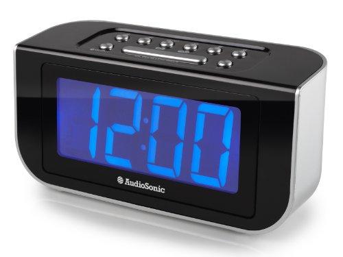 AudioSonic CL-1475 Uhrenradio (4,5 cm (1,8 Zoll) Jumbodisplay, FM Radio, PLL-Tuner) Silber