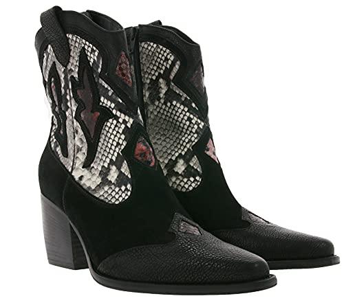 Kennel & Schmenger Echtleder-Boots außergewöhnliche Damen Cowboy-Stiefel Schuhe Stiefelette Schwarz, Größe:38