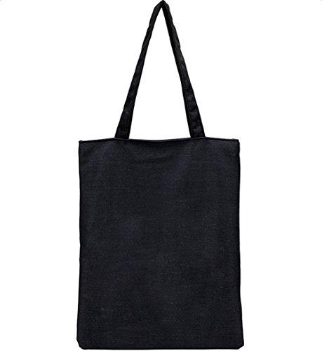 BIGBOBA Bolsas de la Compra Simple Bolsa de Lona Bolsa de Hombro Tote Bolsas para niñas DIY de Almacenamiento Paquete, Lona, Negro, 40 * 32CM#1