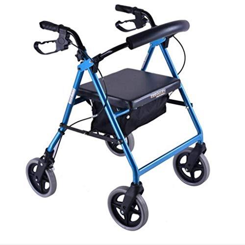 Relaxbx Klappbarer Gehwagen Höhenverstellbarer Aluminium-Gehrahmen Old Man Shopping Limit Mobiler Hilfspedal-Gehwagen Einkaufswagen Trolley (Farbe: Blau)