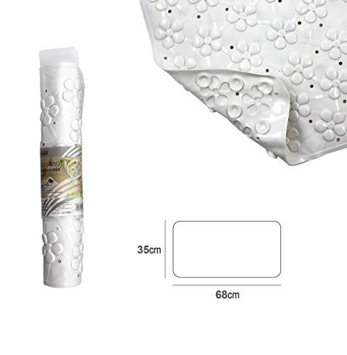 takestop® Badmat, antislip, 35 x 68 cm, bloemen, rechthoekig, met zuignappen voor de douche, antislip, waterdicht, rubber, PVC, kleur willekeurig
