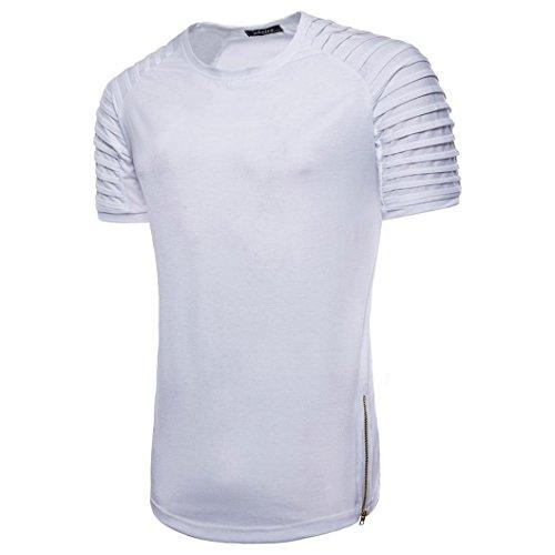 Longra Casual blouse, heren, jongens, T-shirt, ronde hals, korte mouwen, gestreept, T-shirt, slim fit, heren, zomer, sport, tanks, zomer, heren, basic, modieus