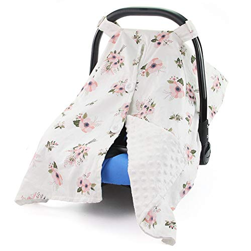 MHJY Carseat Canopy Cover Nursing Cover Breathable Cotton Infant Car Seat Canopy Carseat Cover Nursing Scarf for Boy Girl Baby ShowerAWhite