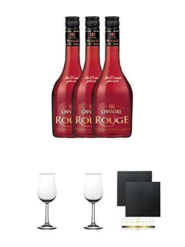 Chantrè Cuvee Rouge 3 x 0,7 Liter + 2 Bugatti Nosing Gläser mit Eichstrich 2cl und 4cl + 2 Schiefer Glasuntersetzer eckig ca. 9,5 cm Ø