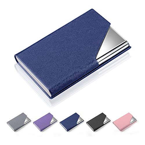 Business Card Holder Case, AHGXG Professional Slim Name Card Case Credit Card ID Holder PU Leather&Stainless Steel Metal Wallets with Magnet Shuts for Men&Women, Keep 20 Business Cards, Blue