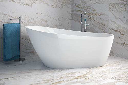 Besco Melody exklusive freistehende Badewanne + Ablaufgarnitur Click Clack mit Überlauf (150 x 80 cm)