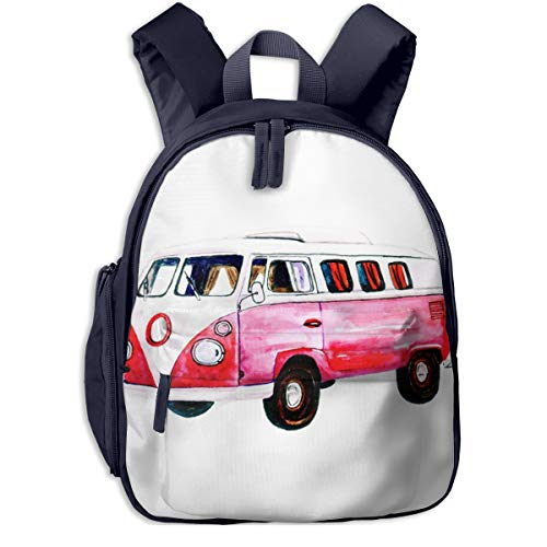 Mochilas Infantiles, Bolsa Mochila Niño Mochila Bebe Guarderia Mochila Escolar con Coche Hippie Autobús Coche para Niños de 3 A 6 Años de Edad