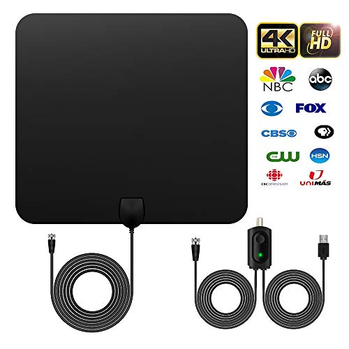 HDTV Digital TV Antenna - UBISHENG Amplifier Signal Booster Indoor Ultra-Thin Digital Antenna for HDTV ATSC ISDB-T - 120 Miles Range Support 4K 1080P and All Older TV's -12ft Coax Cable