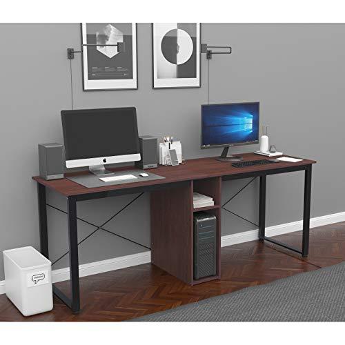 soges Schreibtisch,Super Großer Computertisch XXXL 200 * 60CM für 2 Personen mit Doppelarbeitsplatz,Gaming Tisch,Studientisch mit 2 Aufbewahrungsräumen für Bücher und CPU