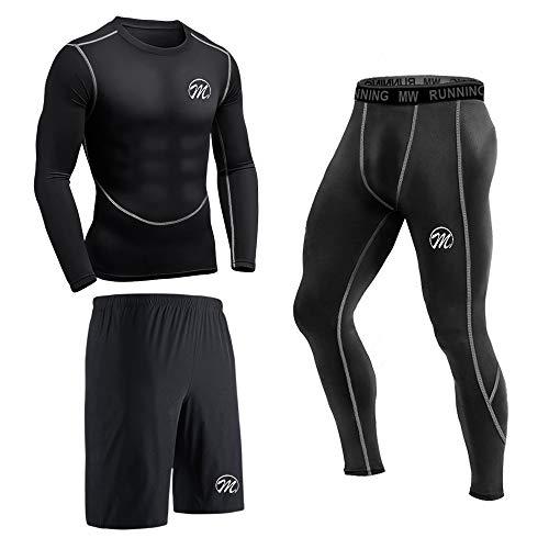 MEETEU Ensemble Compression Homme Tenue Sport Fitness Vêtement Running Tee Shirt Compression Legging Collant Sport Running Jogging Cyclisme,Manches Longues Noir,S