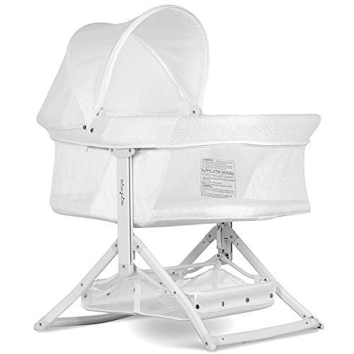 Dream On Me Insta Fold Bassinet | Cradle | Rocking Bassinet | Innovative Folding Design | Perfect for Indoor/Outdoor | Breathable Mesh Side| Oxford Carry Bag Included, White