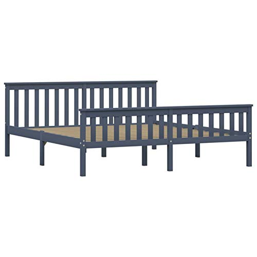 Tidyard Holzbett/Einzelbett aus Bettgestell | mit Lattenrost | mit Kopfteil | Massivholz Jugendbett Kiefer Massiv Bett | Grau/Dunkelbraun, 100/140/ 180 x 200cm