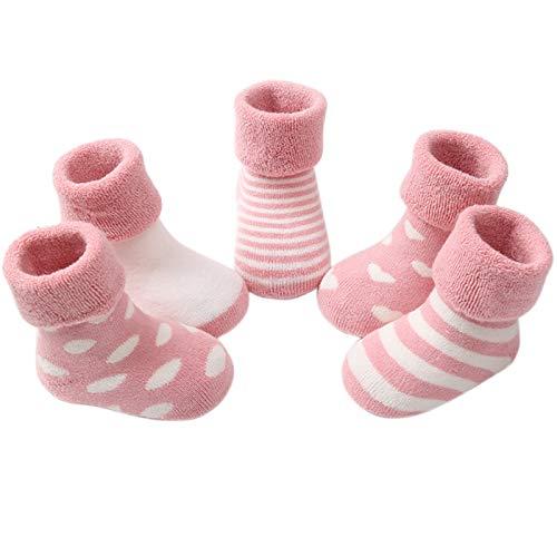 Happy Cherry 5 Paires Chaussettes Coton Souple Rayures Socquettes Mignon Classique Confortable Automne Hiver pour Enfant B/éb/é Gar/çon Fille 1-11 Ans Multicolore Disponible