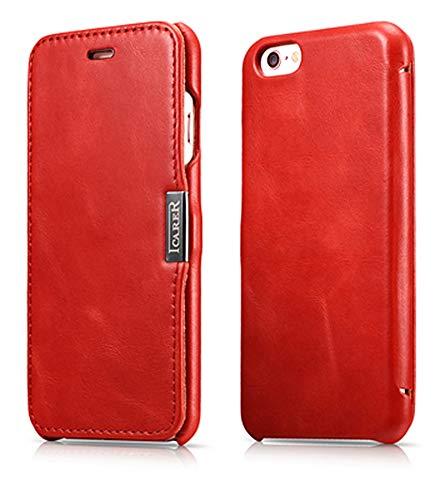 ICARER Tasche passend für Apple iPhone 6S und iPhone 6 (4,7 Zoll), Case Außenseite aus Echt-Leder, Schutz-Hülle seitlich klappbar, Ultra-Slim Cover, Vintage Look, Rot