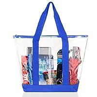 Bags for Less Large Clear Vinyl Tote Bags Shoulder Handbag (Royal Blue) [並行輸入品]