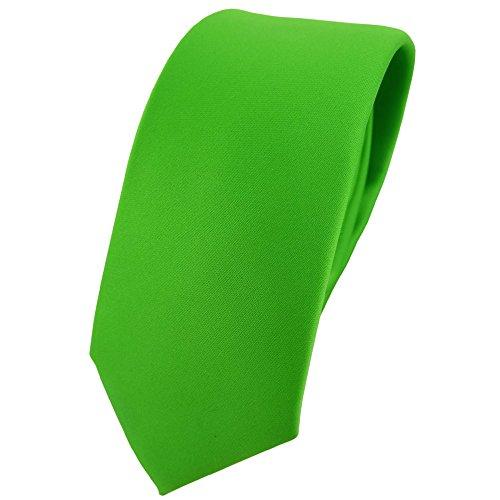 TigerTie schmale Satin Krawatte in grün giftgrün leuchtgrün einfarbig uni
