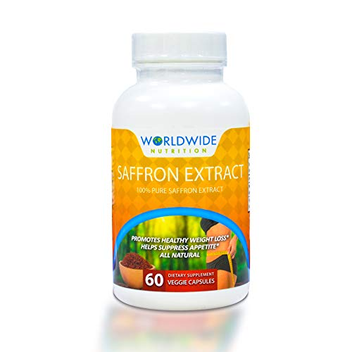 Worldwide Nutrition 100% Pure Saffron Extract Dietary Supplement - Advanced Weight Loss Support Formula - Natural and Healthy Appetite Suppressant, Helps Curb Food Cravings - 60 Vegetable Capsules