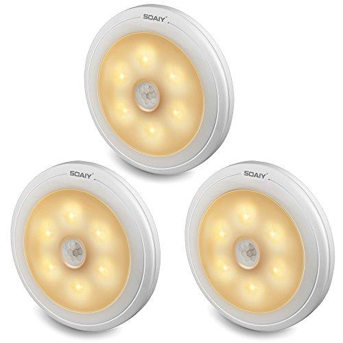 SOAIY 3 Pack LED Nachtlicht mit Bewegungsmelder Batteriebetrieben Automatische Orientierungslicht Sensor Lampe Schrankleuchten für Flur Küche Treppen Schlafzimmer Kinderzimmer Warmweiß 2800K