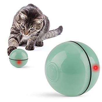 Jouets pour Chat Balles Interactif Balle Rechargeable USB Automatique Changer de Direction Balles Jouets pour Chats avec Lumière LED Divertissement Chat Chaser des balles pour Chats Exercice Vert