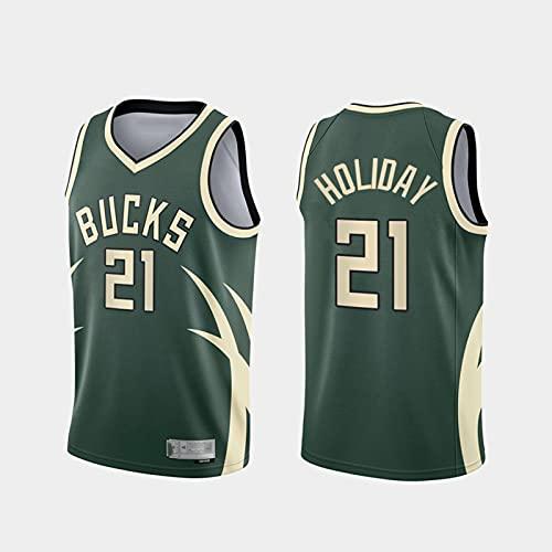 Jersey Men's NBA Milwaukee Bucks 21# Holiday Jersey Classic Retro Cómodo Ligero Ligero Transpirable All-Stars Uniforme Uniforme,M