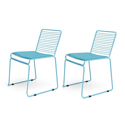 HFJKD Sillas de la Manera Simple Cena la Silla Hueco Wire Chair Muebles para la Sala de Hierro Forjado (Color: Azul)