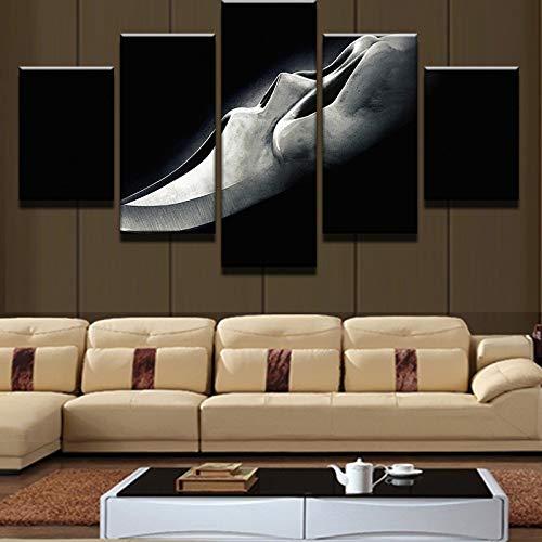 WSNDGWS huisdecoratie, 5 afdichtingen schedel masker canvas schilderij zonder lijst 30x40cmx2 30x60cmx2 30x80cmx1 3 paquete