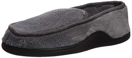 isotoner Men's Microterry Slip On Slippers, Charcoal, XX-Large / 13-14 US