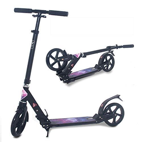 ISE Big Wheel Scooter Tretroller 200mm Roller Cityroller Klappbarer Scooter mit 2 Räder,Handbremse für Erwachsene und Kinder,belastet 100 kg,hoch Qualität,nach EN957 geprüft(Sternenhimmel-Style)