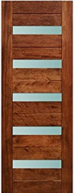 "LuxDoors California [36"" x 80""] Modern Mahogany Wood and White Laminated Glass Entry Solid Door"