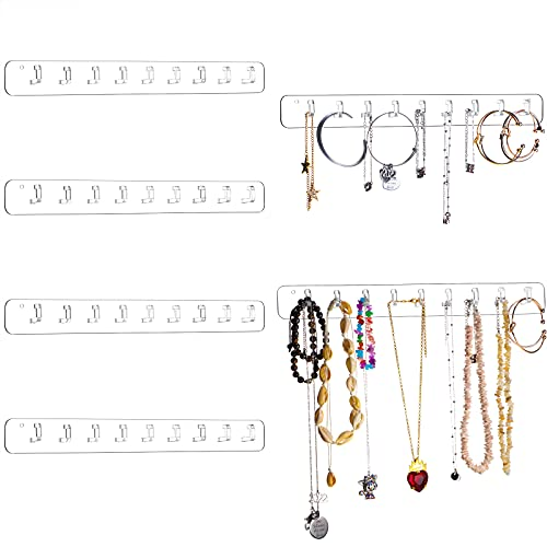 6 Pieces Acrylic Necklace Holder Set Wall Mounted Necklace Hanger Jewelry Organizer Hanging with 9 Hanger Hooks, Jewelry Hangers for Girls Women Necklace, Bracelet (Transparent)