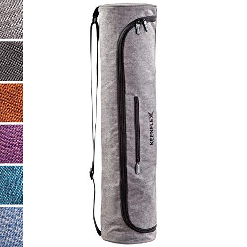 KeenFlex Yogatasche - Tasche für Yoga Matte - Wasserdichtes Gewebe - Komfortabel und Leicht (Grau)