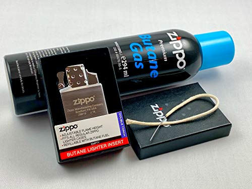Zippo Feuerzeug Butane Lighter Insert Double Einsatz Original ZIPPO Doppel Jet + 1 ZIPPO Gas + gratis MeyTrade Baumwoll Docht mit Nadel