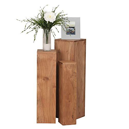 FineBuy Beistelltisch 3er Set Massivholz Akazie Wohnzimmertisch Design Säulen Landhausstil Türme Tisch quadratisch Holztisch Natur-Produkt braun Echt-Holz Unikat Türme 4 Stanbeine Anstelltische