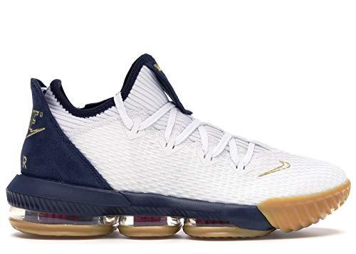 Nike Lebron Men's XVI Low Basketball Shoes, (White/Metallic Gold-Midnight Navy, Size 8 M US)