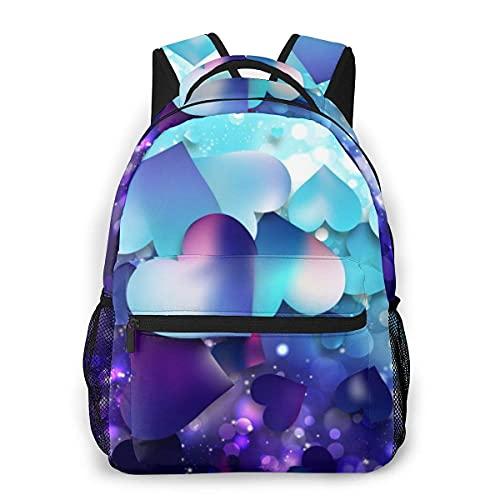 Lawenp Mochila Unisex de Moda Mochila de Corazones de Amor púrpura y Azul Mochila Ligera para portátil para Viajes Escolares Acampar al Aire Libre