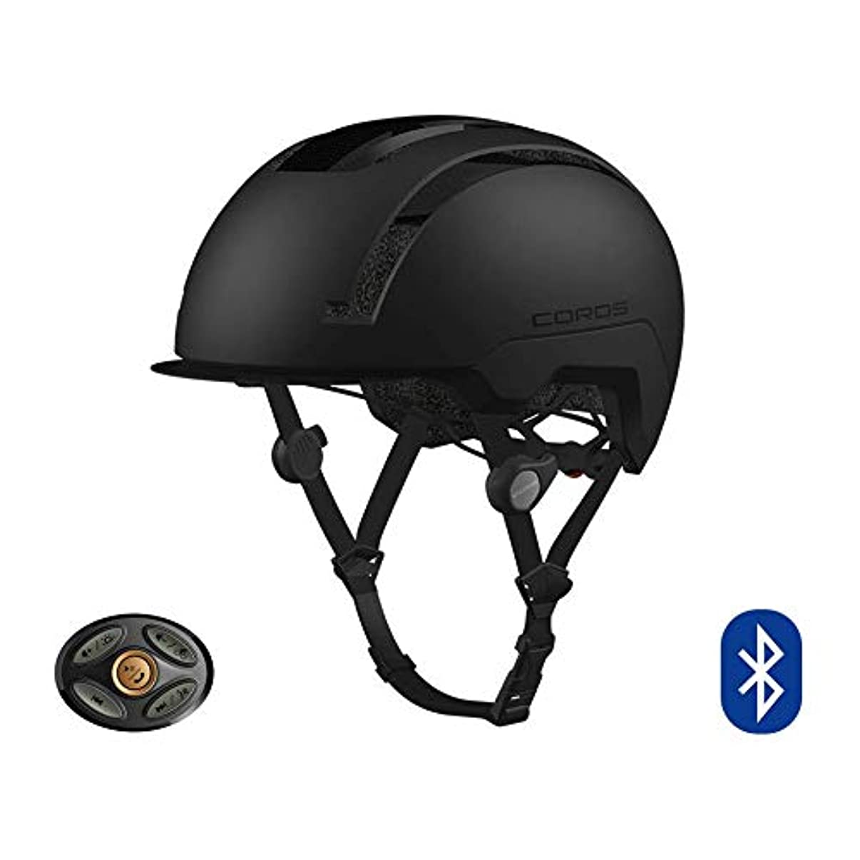 Coros SafeSound Urban Smart Cycling Helmet with Ear Opening Sound System, SOS Emergency Alert, and LED Tail Light   Bluetooth for Music and Phone Calls   Smart Remote   Lightweight