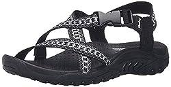powerful Skechers Reggae Kooky Flat Sandals for Women、Black / Grey、8 M US